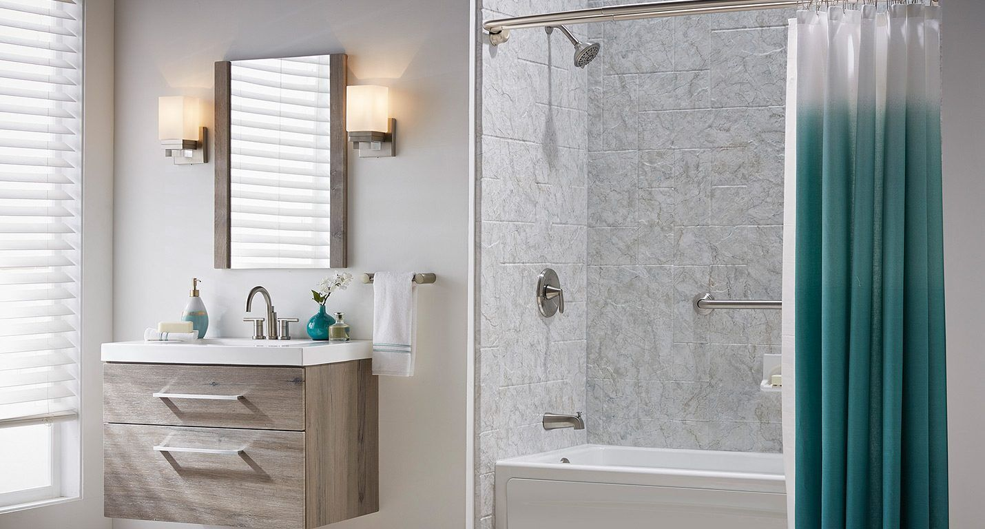 Full bath with Patterned Tile Finish