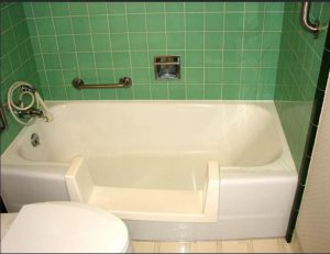 Green Walk Through Tub for Easy Access