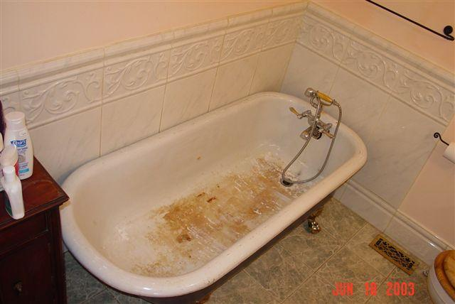 Old Worn Tub Before Reglaze